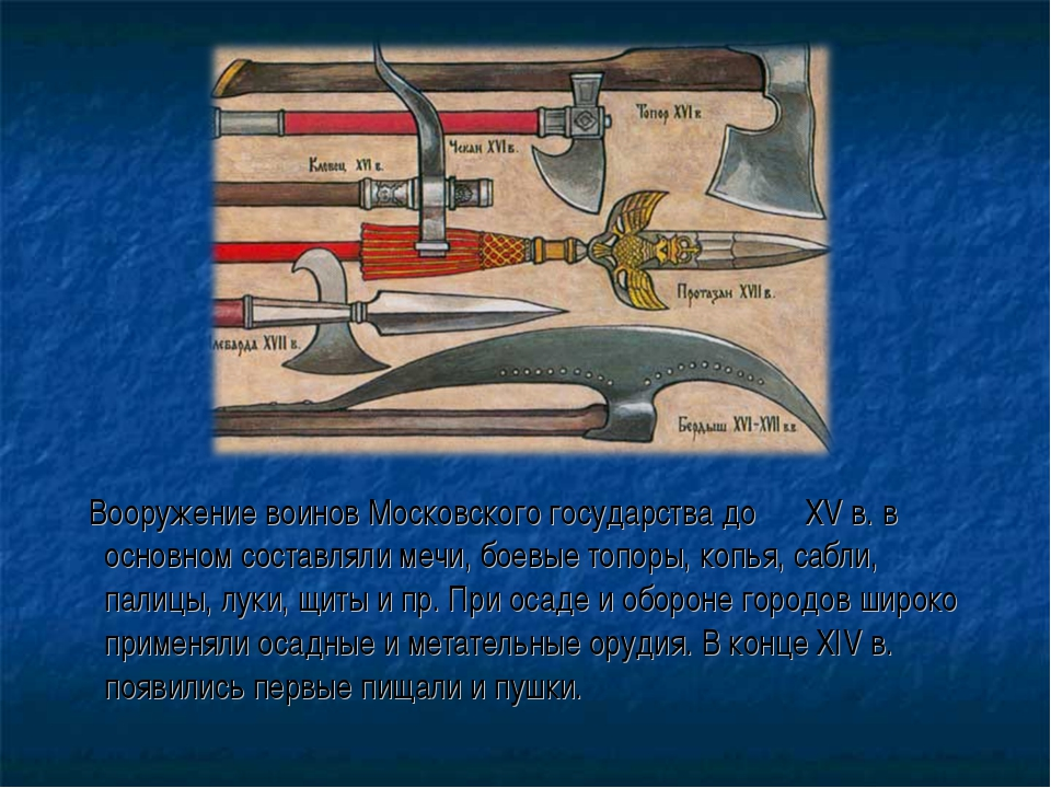 Вооружение воинов Московского государства до XV в. в основном составляли меч...