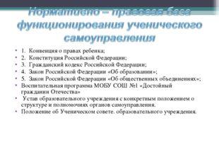 1. Конвенция о правах ребенка; 2. Конституция Российской Федерации; 3. Гражда