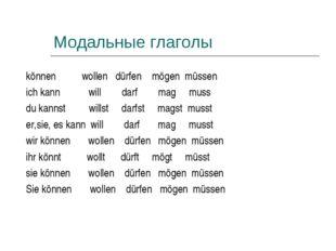 Модальные глаголы können wollen dürfen mögen müssen ich kann will darf mag mu