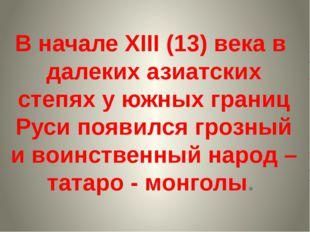 В начале XIII (13) века в далеких азиатских степях у южных границ Руси появил