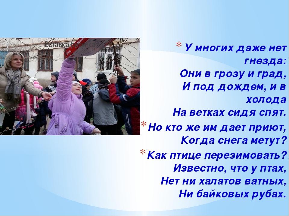 У многих даже нет гнезда: Они в грозу и град, И под дождем, и в холода На вет...