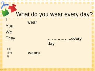 What do you wear every day? I You We They He She It wear wears ……………..every d