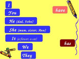 They I It (a flower, a cat) You He (dad, John) She (mum, sister, Ann) We have