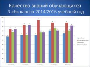 Качество знаний обучающихся 3 «б» класса 2014/2015 учебный год
