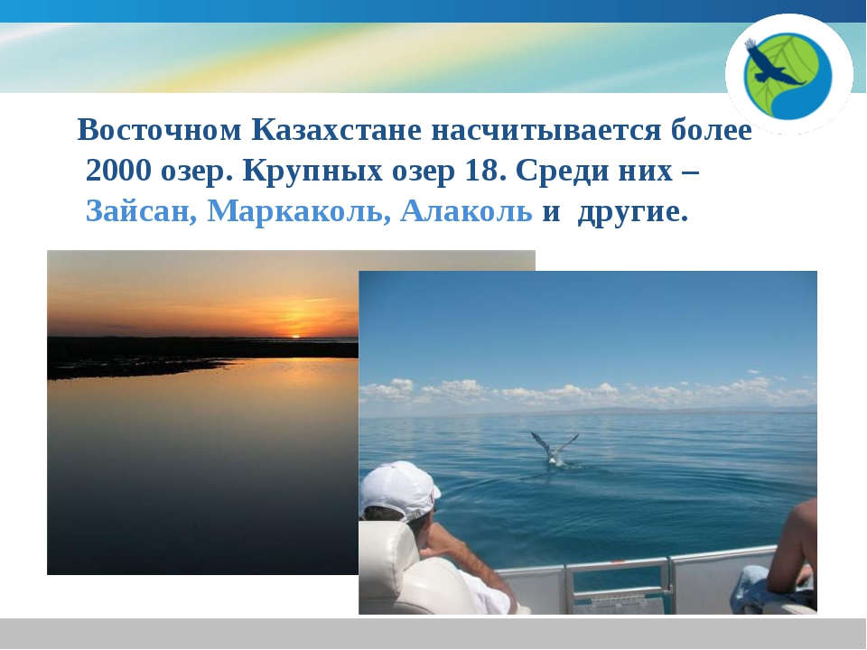 Восточном Казахстане насчитывается более 2000 озер. Крупных озер 18. Среди н...