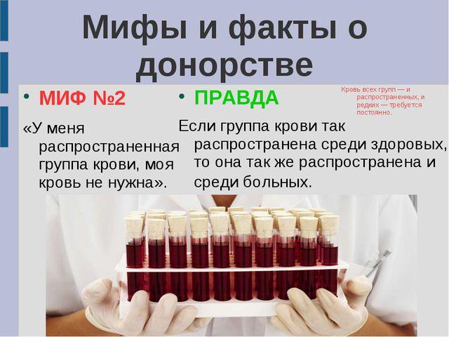 Мифы и факты о донорстве Мифы и факты о донорстве МИФ №2 «У меня распростране...