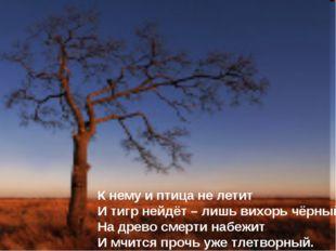 К нему и птица не летит И тигр нейдёт – лишь вихорь чёрный На древо смерти на