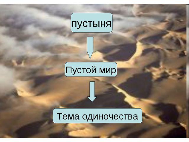 пустыня Пустой мир Тема одиночества
