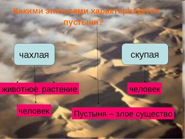 Какими эпитетами характеризуется пустыня? чахлая скупая животное растение че...