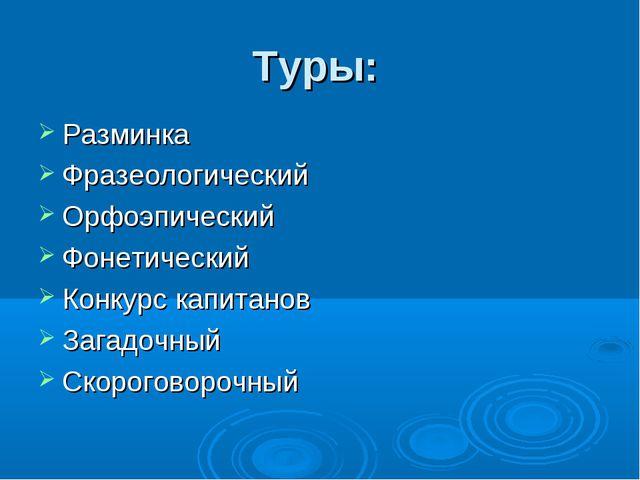Туры: Разминка Фразеологический Орфоэпический Фонетический Конкурс капитанов...