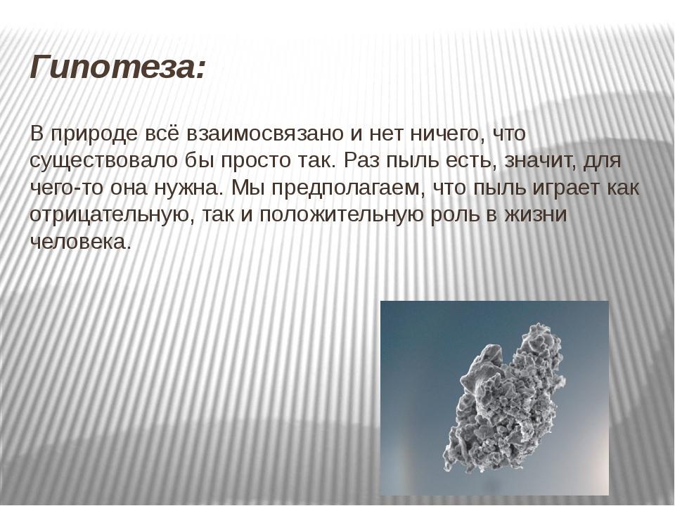 Гипотеза: В природе всё взаимосвязано и нет ничего, что существовало бы прост...