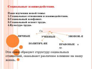 Социальные взаимодействия. План изучения новой темы: 1.Социальные отношения и