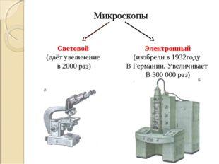 Микроскопы Световой (даёт увеличение в 2000 раз) Электронный (изобрели в 1932