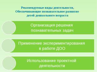 Рекомендуемые виды деятельности, Обеспечивающие познавательное развитие детей