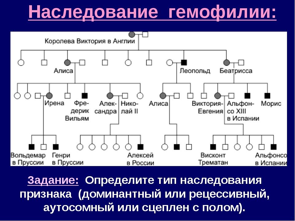 Наследование гемофилии: Задание: Определите тип наследования признака (домина...