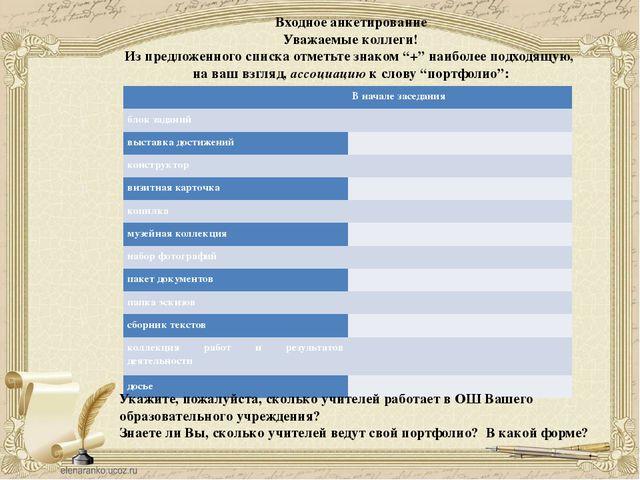 Входное анкетирование Уважаемые коллеги! Из предложенного списка отметьте зна...