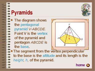 Pyramids The diagram shows the pentagonal pyramid V-ABCDE. Point V is the ver
