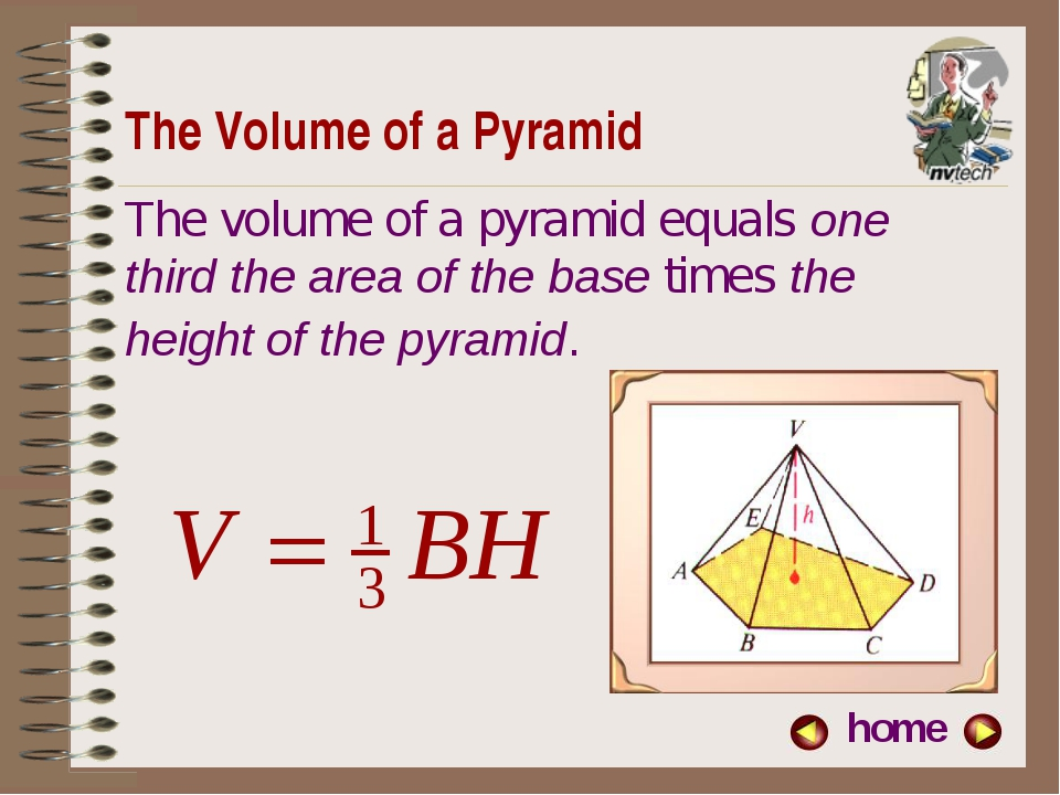 The Volume of a Pyramid home The volume of a pyramid equals one third the are...