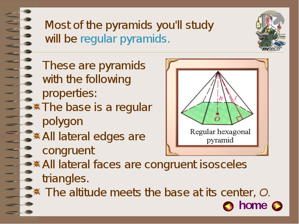 Most of the pyramids you'll study will be regular pyramids. All lateral faces...
