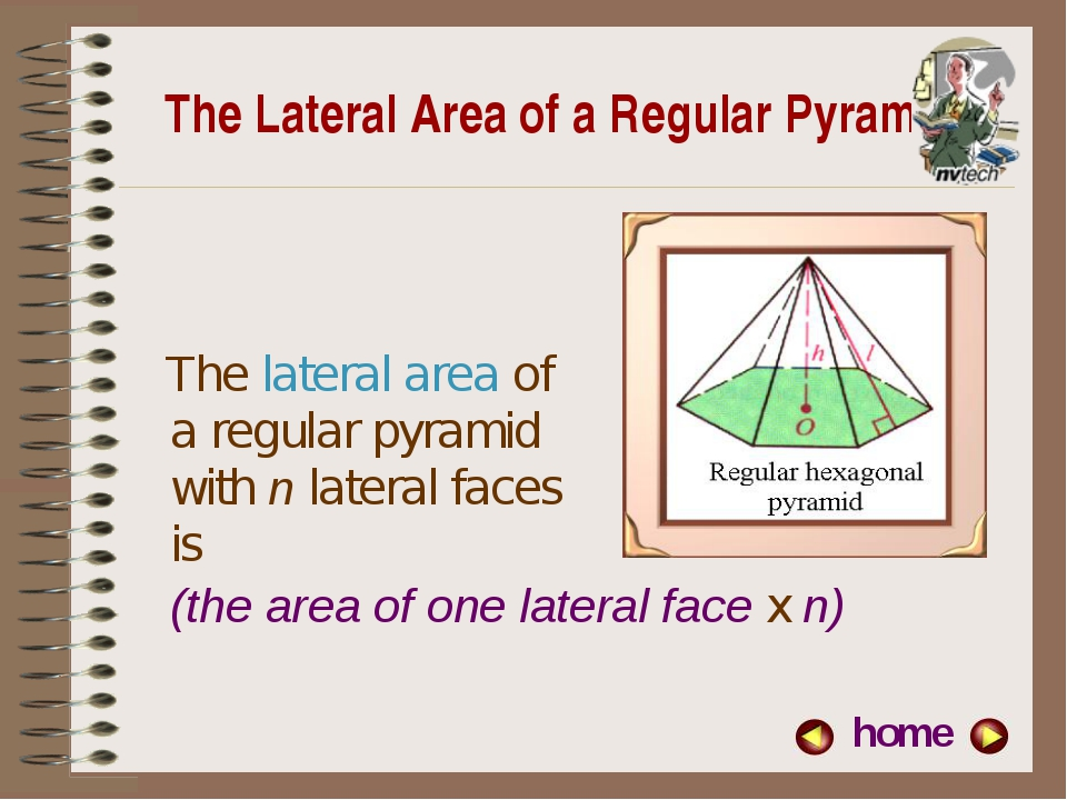 The Lateral Area of a Regular Pyramid The lateral area of a regular pyramid w...