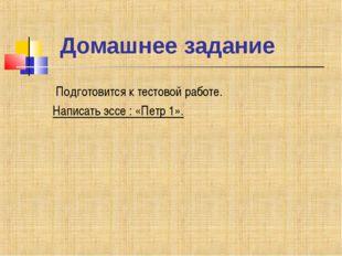 Домашнее задание Подготовится к тестовой работе. Написать эссе : «Петр 1».