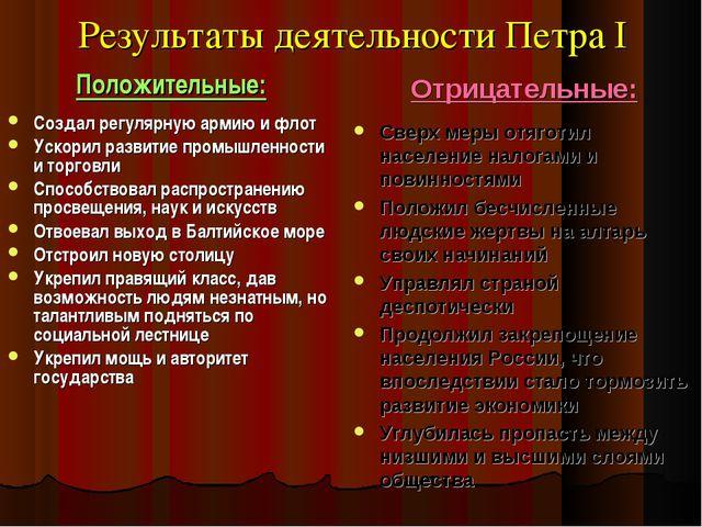 Результаты деятельности Петра I Положительные: Создал регулярную армию и флот...