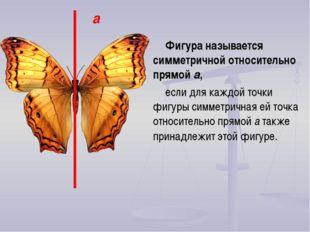 Фигура называется симметричной относительно прямой a, если для каждой точки ф