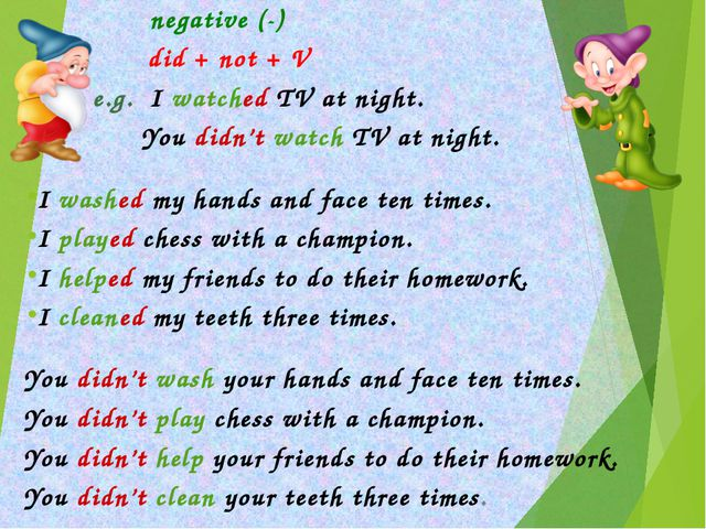 negative (-) did + not + V 	 e.g. I watched TV at night. 	 You didn't watch...