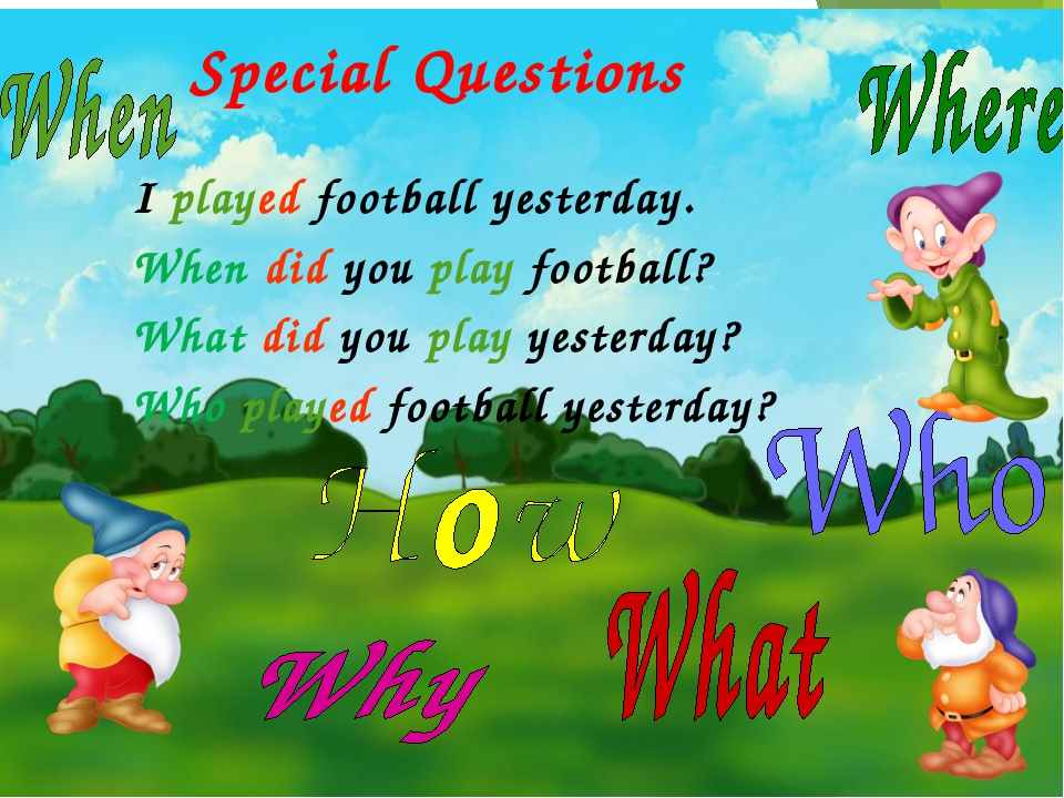 Special Questions I played football yesterday. When did you play football? W...