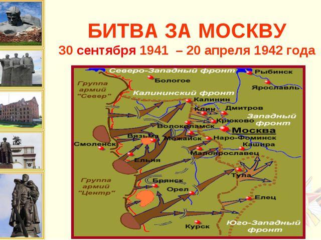 БИТВА ЗА МОСКВУ 30 сентября 1941 – 20 апреля 1942 года