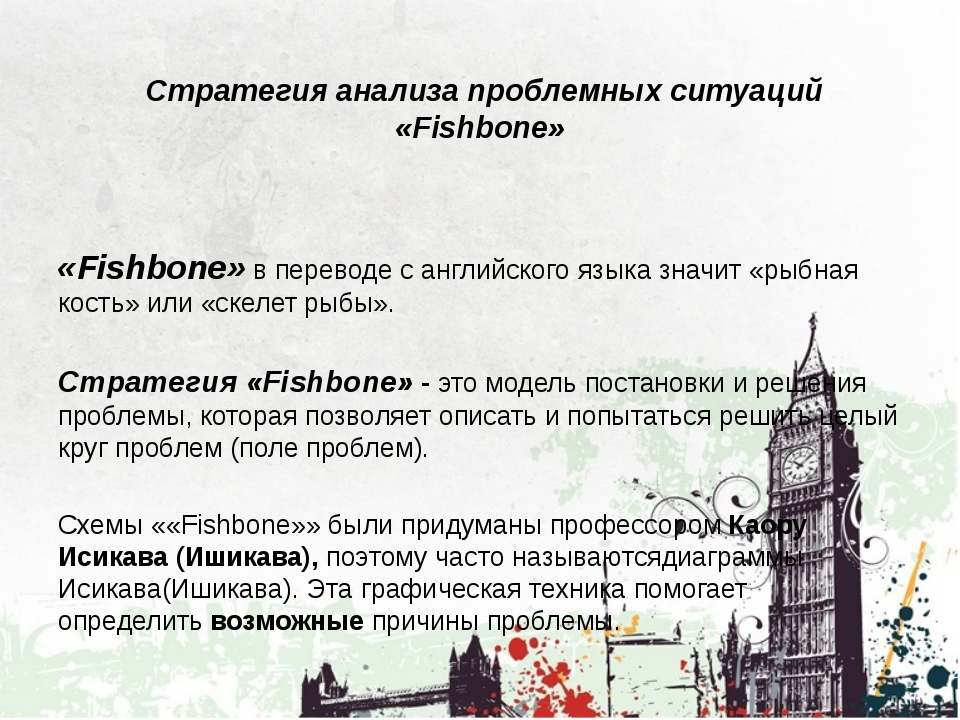 Cтратегия анализа проблемных ситуаций «Fishbone» «Fishbone»в переводе с анг...