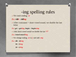-ing spelling rules We omit ending –e Ex: ride - riding After consonant + sho