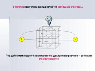 В металле носителями заряда являются свободные электроны. + - Под действием в