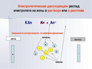 Электролитическая диссоциация- распад электролита на ионы в растворе или в ра