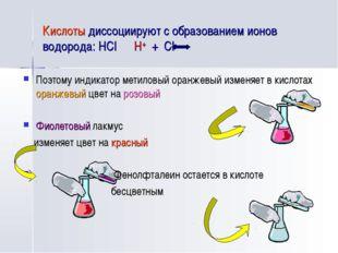 Кислоты диссоциируют с образованием ионов водорода: HCl H+ + Cl- Поэтому инди