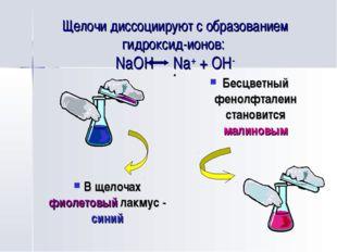 Щелочи диссоциируют с образованием гидроксид-ионов: NaOH Na+ + OH- Бесцветный