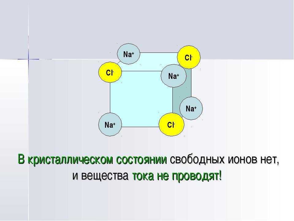 В кристаллическом состоянии свободных ионов нет, и вещества тока не проводят...
