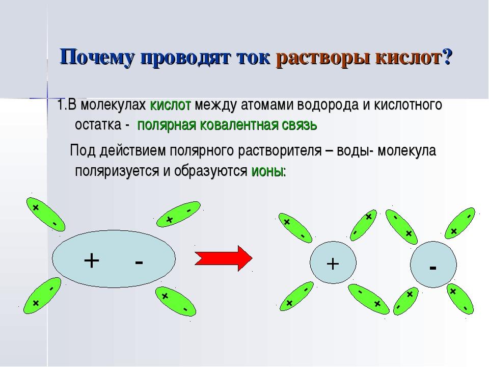 Почему проводят ток растворы кислот? 1.В молекулах кислот между атомами водор...