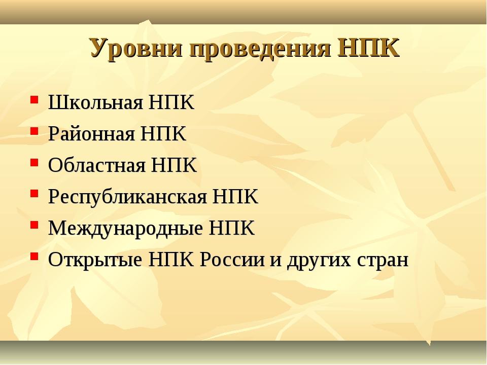 Уровни проведения НПК Школьная НПК Районная НПК Областная НПК Республиканская...
