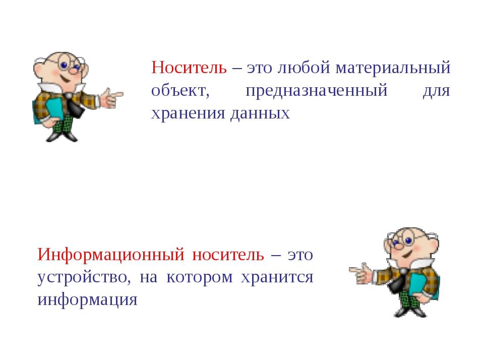 Носитель – это любой материальный объект, предназначенный для хранения данных...
