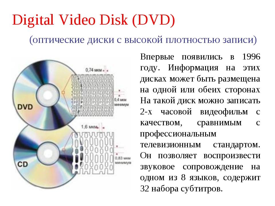 Digital Video Disk (DVD) (оптические диски с высокой плотностью записи) Вперв...
