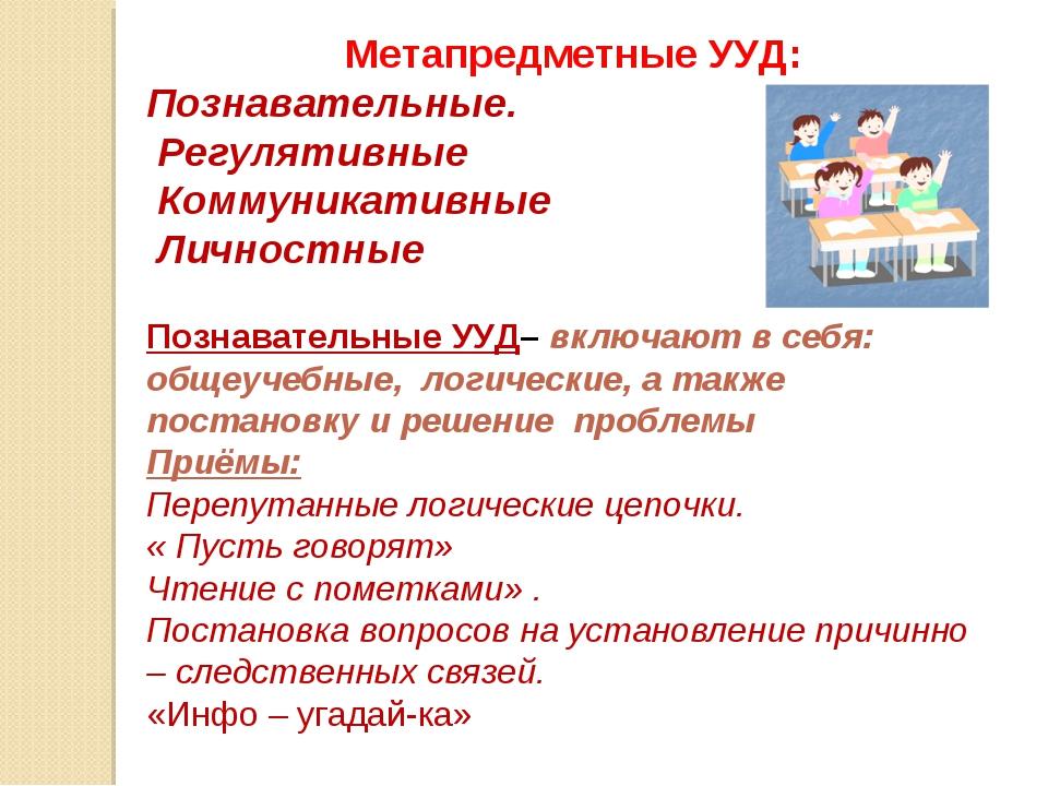 Метапредметные УУД: Познавательные. Регулятивные Коммуникативные Личностные...