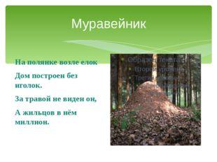 Муравейник На полянке возле елок Дом построен без иголок. За травой не виден