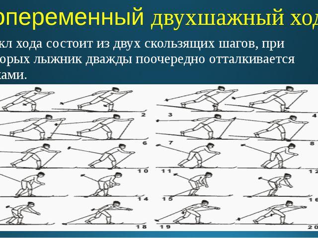 Попеременный двухшажный ход Цикл хода состоит из двух скользящих шагов, при к...