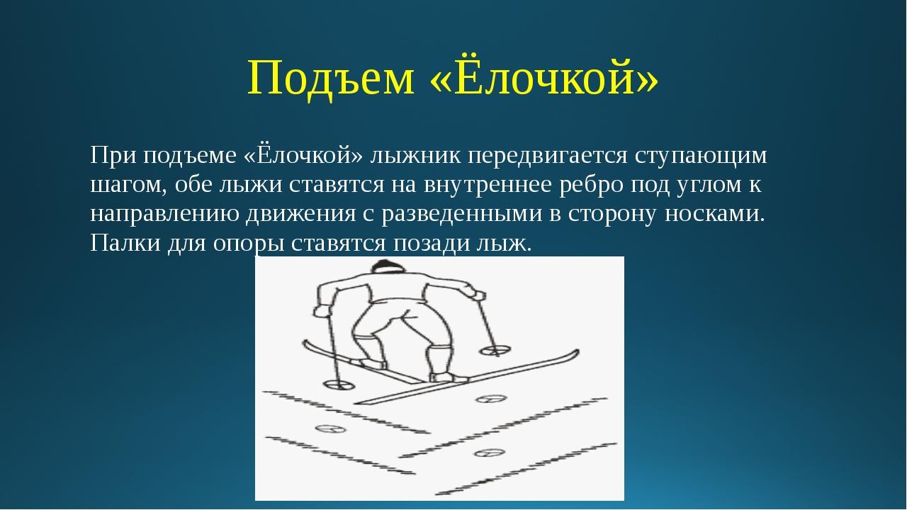 Подъем «Ёлочкой» При подъеме «Ёлочкой» лыжник передвигается ступающим шагом,...