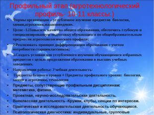 Профильный этап (агротехнологический профиль- 10-11 классы.) Формы организаци