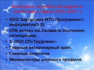 Мониторинг потребностей кадров по хозяйствам с.Зирган (2015-2020 г.) ООО Зирг