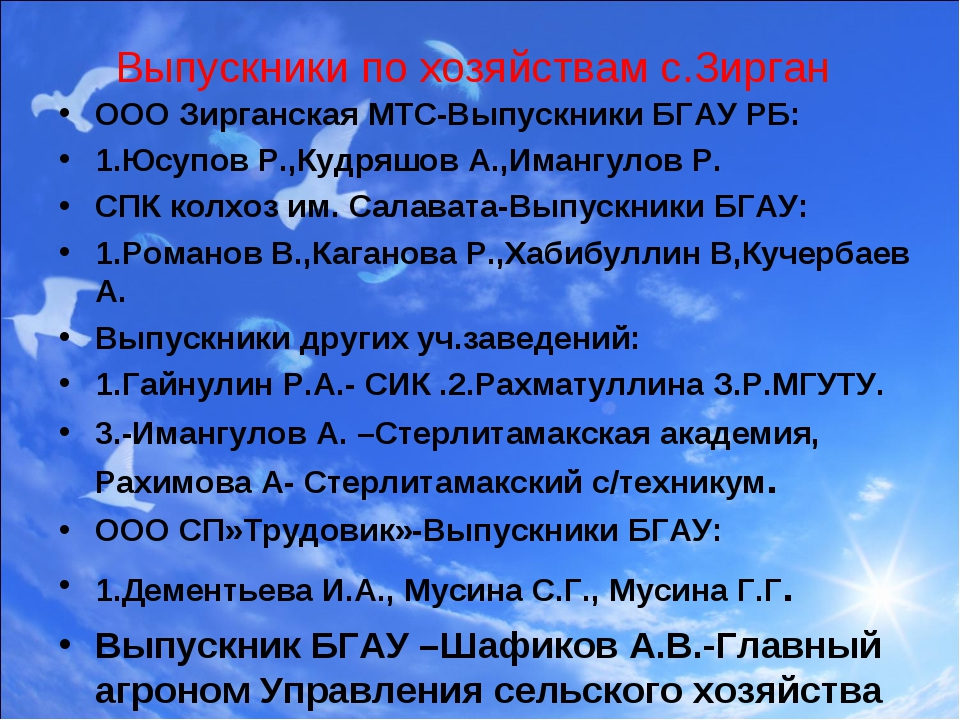 Выпускники по хозяйствам с.Зирган ООО Зирганская МТС-Выпускники БГАУ РБ: 1.Юс...