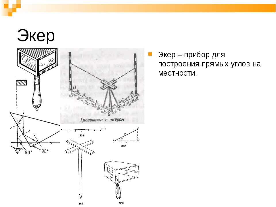 Экер Экер – прибор для построения прямых углов на местности.