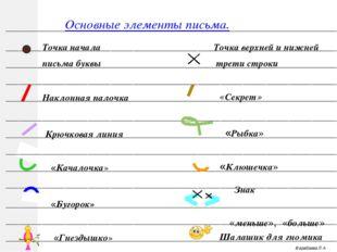 Марабаева Л.А. Точка начала письма буквы Точка верхней и нижней трети строки